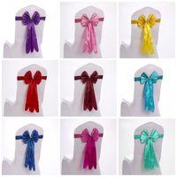 Copertura della sedia del raso Elegante facile da pulire Decorazione di cerimonia nuziale Forniture lunghe stile bow tie forma telai telai vendita calda 2 5sk BY