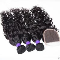 Free Parting 4 * 4 Chiusura superiore con fasci di capelli peruviani Water Wave 3pcs capelli umani con chiusura in pizzo peruviano bagnato ed ondulato 4 pezzi / lotto
