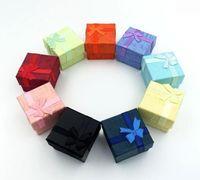 Alta Qualidade Favor Saco Atacado Multi cores Caixa De Jóias, Caixa de Anel, Brincos Caixa 4 * 4 * 3 Embalagem Caixa De Presente