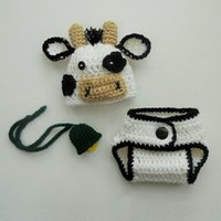 Newborn Cute White Cow Costume, Handmade Crochet Baby Boy Gir...