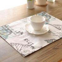 tavola calda vendite stuoie tavola stuoie stampa della farfalla doppio spessore posto tovaglia stuoia di tabella corridore con tovagliolo centrino