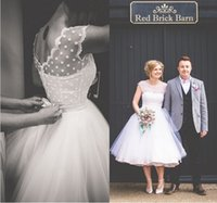 Vintage 1950s Style Polka Dotted Short Wedding Dress Tea Len...