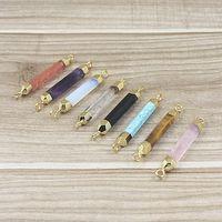 14 colori misti pietra naturale terminale punto connettore druzy perline sottile oro placcato guarigione pietre di quarzo di cristallo per fare gioielli