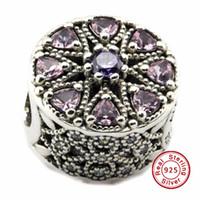 2016 schimmernde Medaillon, Multi-Colored CZ 100% 925 Sterling Silber Perlen passen Pandora Charms Armband authentische DIY Modeschmuck