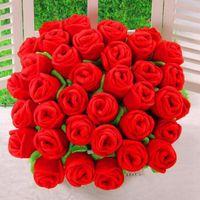 Vendita calda Peluche Fiore Artificiale Rosa Farcito Giocattolo Del Fumetto Fiori finti Tenda Fibbia Party Wedding Home Decor