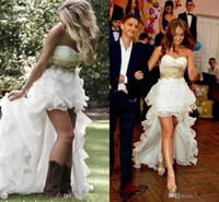 Hot ! 2016 Modest High Low Country Style Wedding Dresses Swe...