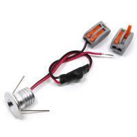 10pcs / Lot 1W Mini LED spot encastrable au plafond rond blanc 110V 220V en aluminium encastré lampe taille du trou blanc chaud 15mm