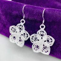 Oco Flor de prata longo Dangle brincos 925 prata banhado brincos de presente de Natal Mulheres Wedding Declaração Jóias