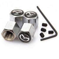 الفضة 4PCS مضاد للسرقة النمط الأسود مازدا LOGO سيارة شارة عجلة الاطارات صمام كاب الإطارات كاب الغبار لمدة 5 مازدا CX7 CX5 ATENZA ملحقاتها