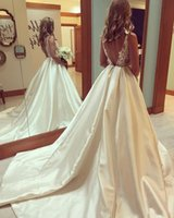 2020 Plus Size Satin Wedding Dress Sheer Top See Through Lace Appliques Tulle Bodice Bateau Neck Sleeveless Sexy Backless Bridal Gowns 431