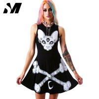 Großhandels-Neuheit Harajuku Kleid 2016 Punk Schwarz Kleider Frauen Skeleton Druck Sommer Ärmelloses Kleid Vestidos Rock Roll Stil SM4D048