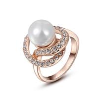 18K Rose Gold Plated Austrian Pearl Rhinestone Green Ring Luxury 18K White GoldDiamond Wedding Lady Finger Rings