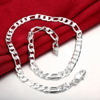 Мужской моды 8 мм широкий плоский квадратный звено цепи ожерелья Мужчины Женщины посеребренные цепи ожерелье колье тела простой щедрый ювелирные изделия 20 дюймов