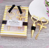 2 pçs / set amor coração saca-rolhas abridor de garrafa de vinho decoração de casamento favor e presentes rolha de garrafa de vinho cor de ouro