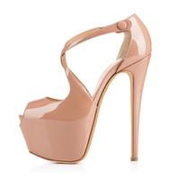 Karmran Mulheres Handmade Marca de Moda Peep Toe Cruzado 160 MM Sandálias de Salto Alto Bombas Para A Festa de Casamento Sapatos Bege Z70318
