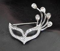 Populaire mooie dame meisjes bloem kraag strass kristal verzilverd vos masker broche pin voor gift groothandel 12 stks