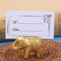 Porte-cartes porte-nom de table porte-nom de mariage chanceux or éléphant Place faveurs cadeau décoration de fête ZA4312