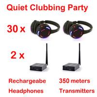 Casque sans fil clignotant à système RF avec système complet Silent Disco - Ensemble de soirée clubbing tranquille (30 casques + 2 émetteurs)
