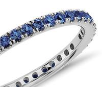 Nişan Kadınlar Taş Yüzük Sertifika Takı Fabrika Doğrudan XBLR0058 Ayar Doğal Safir Eternity Ring'in 14k Beyaz Altın Düğün
