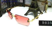 Óculos de sol do desenhador da marca retro do vintage para as mulheres óculos de sol sem aro new hot square oversize búfalo óculos de sol UV400 vêm com caixa