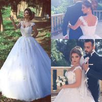 2016 Nouvelle Arabe Robes De Mariée Chérie Cap Manches Illusion Dentelle Appliques Perlé Toute La Longueur Tulle Plus Taille Dit Mhamad Robes De Mariée