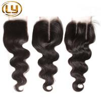 1PC-Spitze-Schliessen peruanische Haar-Körper-Welle mit Closure 7A Rohboden Haar-Webart Closures UNICE peruanischen Körper-Wellen-Spitze-Schliessen
