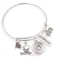 Großhandel Snap Schmuck Erweiterbar Draht Armreif Ich liebe meine Soldat Charm Armbänder Bangle Snap Button Armband für Soldat Geschenk
