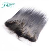 Ombre Lace Frontal Menschenhaar grau und schwarz volle Spitze Frontal Verschluss mit dem Babyhaar glattes Haar frei Tangle kein Verschütten