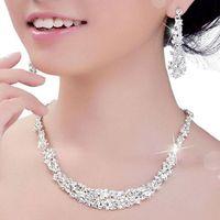 신부 들러리 여성 신부 액세서리 블링 실버 크리스탈 신부 보석 세트 도금 목걸이 다이아몬드 귀걸이 웨딩 보석 세트