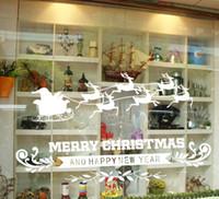 Venta al por mayor pegatinas estáticas especiales para navidad vidrio etiqueta de la pared escaparate etiqueta de la ventana navidad diy etiqueta blanca reno pegatinas
