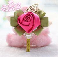 신랑 신부 코사지 실크 로즈 핀 브로치 결혼식 꽃 Boutonniere 신부 꽃을 들고 들고 신부 들러리 손목 꽃 꽃다발
