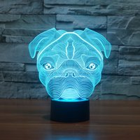 2017 Bulldog Shar Pei 3D Owl Optical Lamp Night Light Night ...