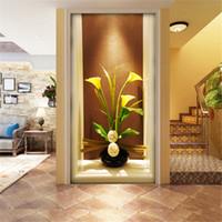 simple europea corredor fondo de entrada papel de escritorio moderno grande papel tapiz de cuarto de estar away wall painting vaso