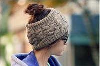 Frauen Pferdeschwanz Kappen Gestrickte Haarband Mode Mädchen Winter Warme Mütze Leere Kopf Pferdeschwanz Herbst Lässig Häkeln Mützen