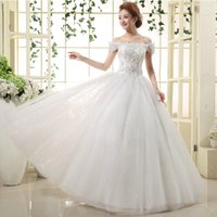Bateau Neck Lace Appliques Tulle Ball Gown Wedding Dress Wit...