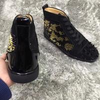 الذهبي، الشظية المسامير ليوبارد أعلى عال حذاء رياضة أحذية نساء، رجال الأحمر المسامير أسفل نوع من الكريستال الدانتيل متابعة مثالية فاخرة أوقات الفراغ شقق EU35-47