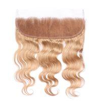 Honey Blonde # 27 Frontal de encaje completo con cabello de bebe Brasileño Onda del cuerpo Cabello humano Sin cola Oreja a frontal de encaje para mujer
