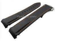 20 mm (18 mm toka) yeni çizgi üst uç siyah ve turuncu silikon askısı su geçirmez dalış kayış Omega izle için gümüş toka ile