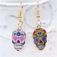 """Yeni Moda Küpe Altın Kaplama Çok Renkli Cadılar Bayramı Şeker Kafatası Desen 41mm (1 5/8 """") X 13mm (4/8""""), 1 Çift"""