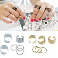 1 مجموعة 6 قطع الشرير الذهب مكدس عادي الفرقة ميدي منتصف إصبع المفصل الدائري مجوهرات C00061 ost