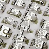 Ayarlanabilir Boyut Gümüş Kaplama Zamak Parmak Yüzük Parmak Yüzük İçin Kadın ve Erkekler Mix Stil Toptan Takı Lot LR129