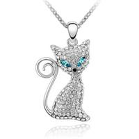 Charme jóias kitty cristal pingente colar feito com elementos swarovski mulheres colar de alta qualidade branco banhado a ouro 707