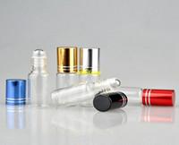 50 قطعة / ot شحن مجاني 5 ملليلتر واضح الزجاج الضروري النفط زجاجات الأسطوانة مع المقاوم للصدأ الرول كرات 5cc العطور لفة على زجاجات 5 ألوان