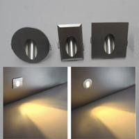 Lampa ścienna LED Światła schodów 1 W / 3W AC85-260V Wpuszczane w LED Light Lighting Night Light for Channel, Step, Oświetlenie schodów