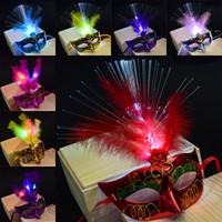 12 Cor LED Máscaras de Festa de Halloween Flash Glowing Máscara de Pena Mardi Gras Masquerade Cosplay Máscaras de Halloween Máscaras de Halloween WX9-61