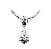 Freies Verschiffen Silber Überzogene Perle Kirschblüte Anhänger Perle Passend Pandora Armbänder Armreifen reizende Halskette Anhänger