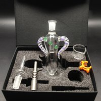 Nectar Collectors kits with GR2 Titanium Tip 14mm Mini Glass Pipe Oil Rig Straw Concentrate Dab Bong Honeybird kit nectars collector