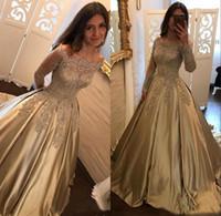 2018 Elegante A Line Off The Shoulder Dresses Prom mangas compridas Applique Satin Lace Trem da varredura vestidos de noite formais Vintage
