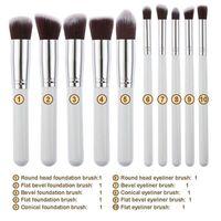 10 adet Kabuki Makyaj Fırçalar SGM 10 adet Profesyonel Kozmetik Fırça Seti Naylon Saç Ahşap Saplı Göz Farı Vakıf Araçları DHL ücretsiz kargo