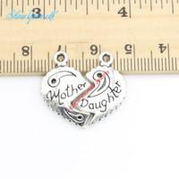 10 sätze / los Antikes Silber Überzogene Herz Mutter Tochter Charms Anhänger für Halskette Schmuck Handgemachte Fertigkeit DIY 23x13mm